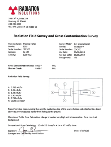 Area radiation survey